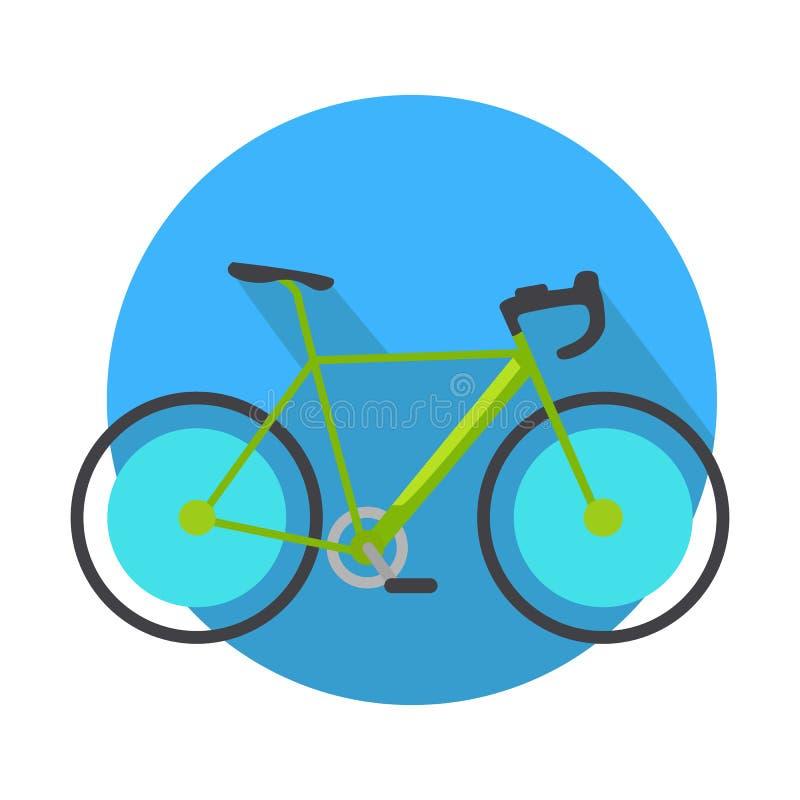 Progettazione dell'icona della bicicletta piana Bottone di web della bici illustrazione di stock