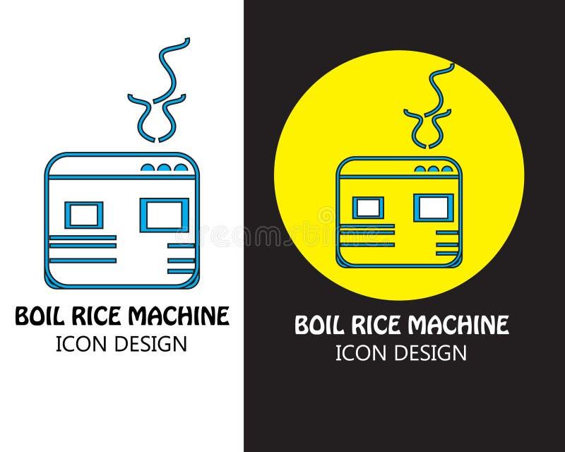 Progettazione dell'icona della macchina del riso del punto di ebollizione con fondo in bianco e nero royalty illustrazione gratis