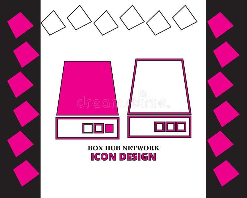 Progettazione dell'icona della rete del hub della scatola con nuovo stile su fondo royalty illustrazione gratis
