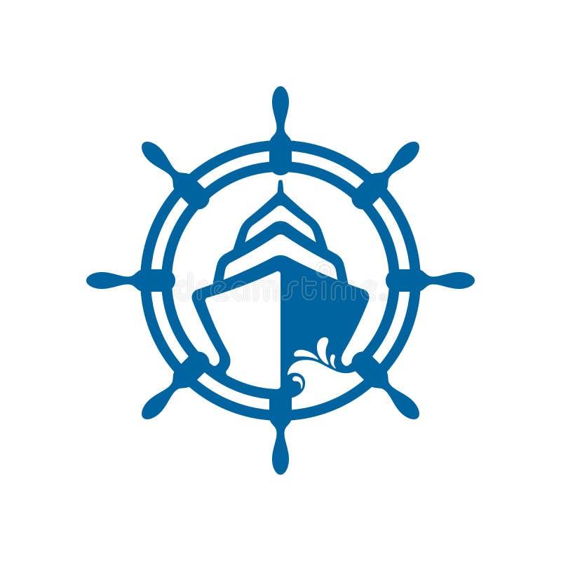 Progettazione dell'icona della ruota della nave e della barca illustrazione di stock