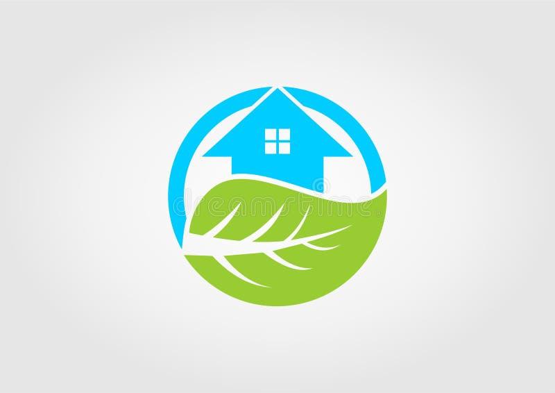 Progettazione dell'icona della siluetta della foglia e della casa fotografia stock