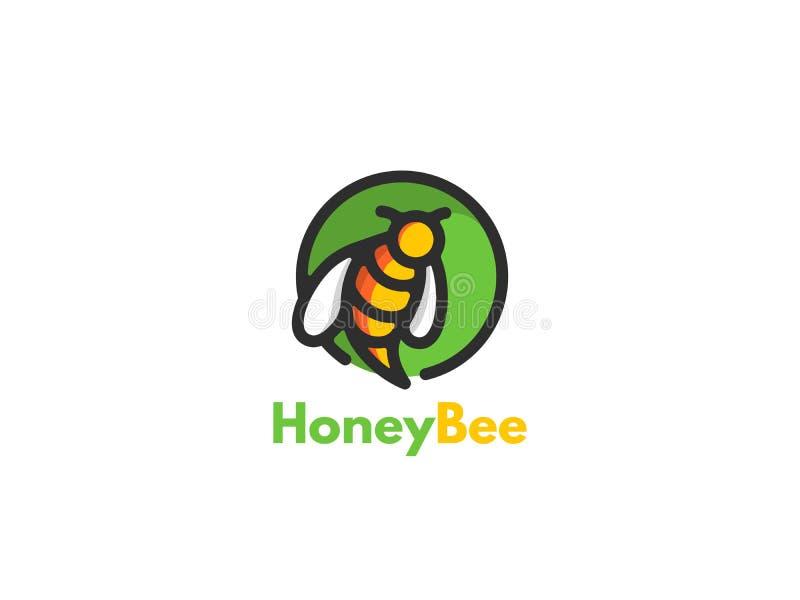 Progettazione dell'icona di logo dell'ape Il concetto per le vendite di industria e la produzione di miele, api di conservazione  illustrazione vettoriale