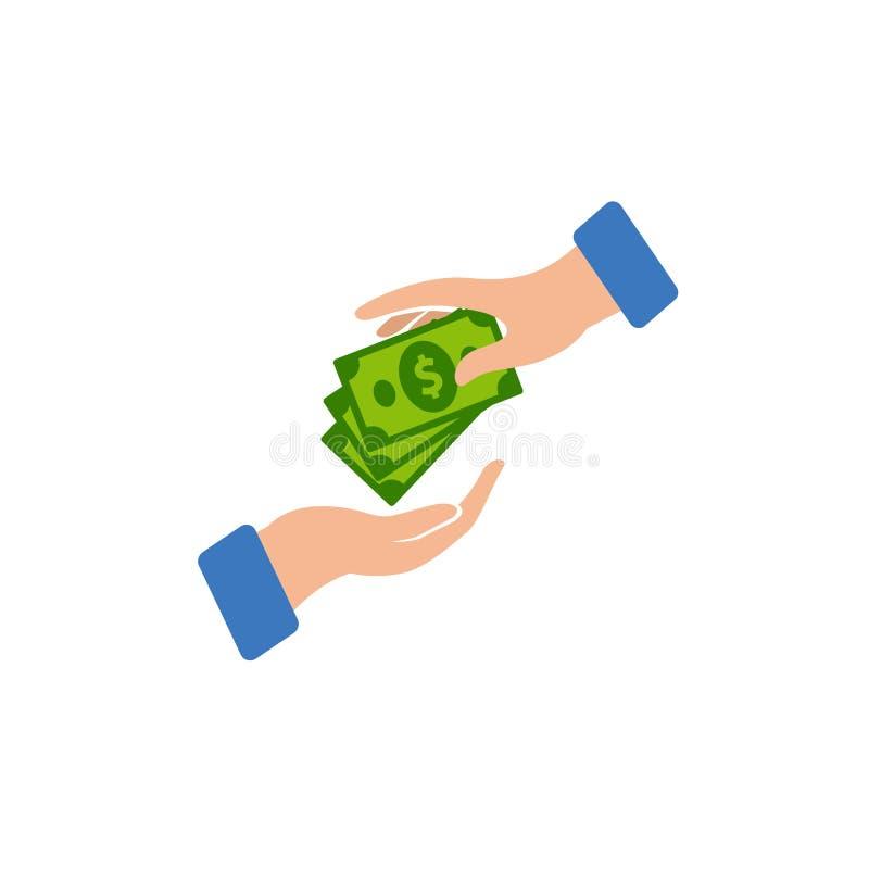 Progettazione dell'icona di logo di vettore di transazione dei soldi comprando con l'illustrazione di simbolo di vettore del dena royalty illustrazione gratis