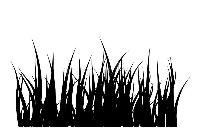 Progettazione dell'icona di simbolo di vettore della siluetta dell'erba illustrazione vettoriale