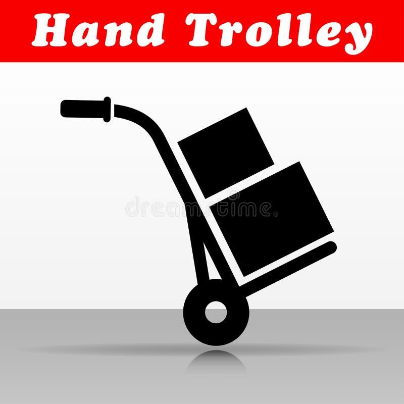 Progettazione dell'icona di vettore del carrello della mano illustrazione di stock