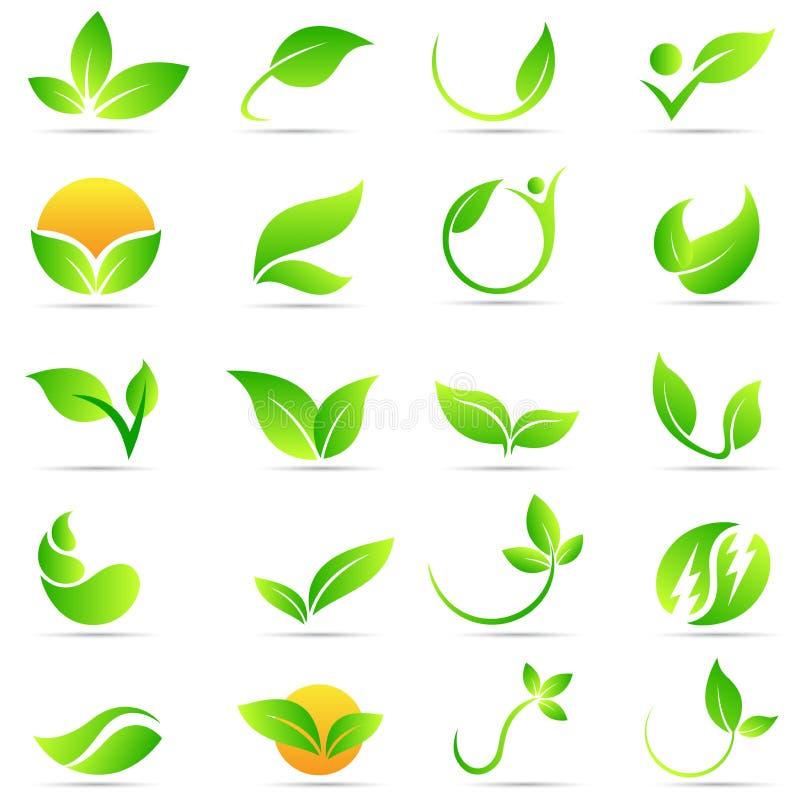 Progettazione dell'icona di vettore di simbolo di ecologia della natura di benessere di logo della pianta della foglia royalty illustrazione gratis