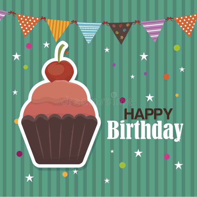 Progettazione dell'icona isolata bigné di buon compleanno illustrazione vettoriale