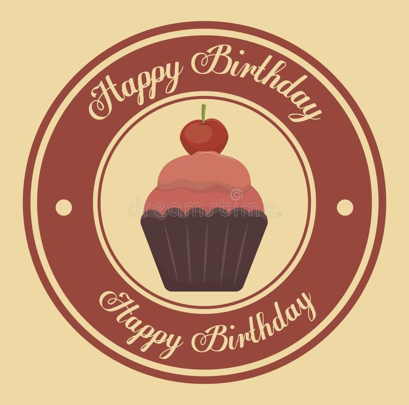 Progettazione dell'icona isolata bigné di buon compleanno illustrazione di stock