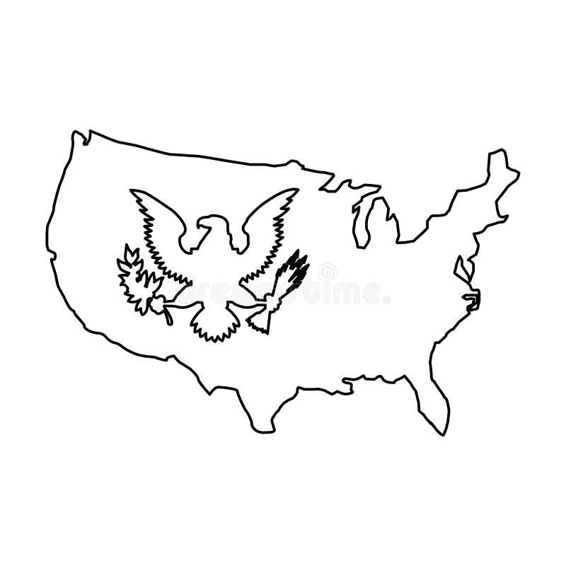 Progettazione dell'icona isolata emblema americano dell'aquila illustrazione vettoriale