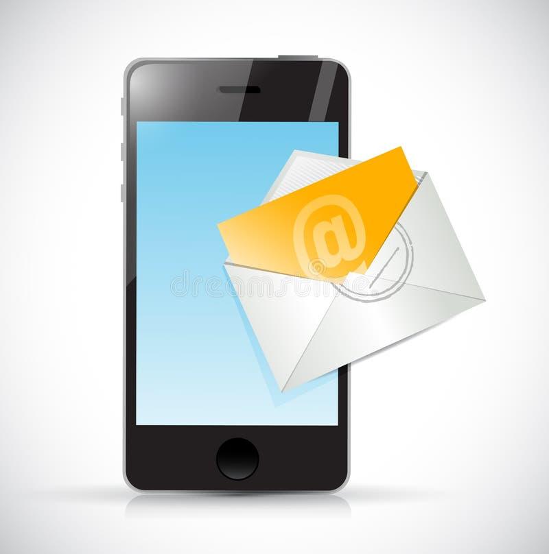 Progettazione dell'illustrazione del email della busta e del telefono royalty illustrazione gratis
