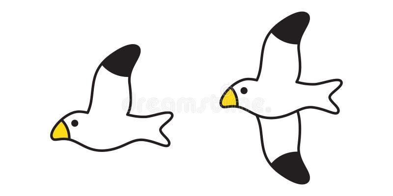 Progettazione dell'illustrazione del fumetto di simbolo del piccione dell'icona del gabbiano di vettore dell'uccello illustrazione di stock