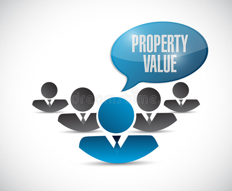 Progettazione dell'illustrazione del segno del gruppo di valore di una proprietà illustrazione di stock