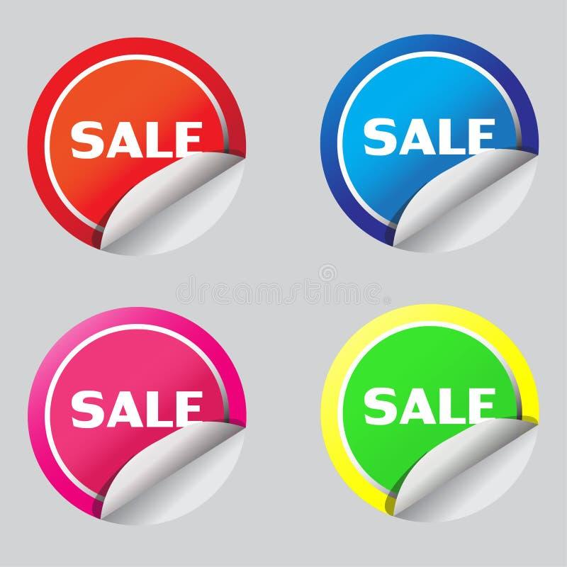 Progettazione dell'illustrazione del vecter dell'icona dell'autoadesivo di vendita fotografia stock