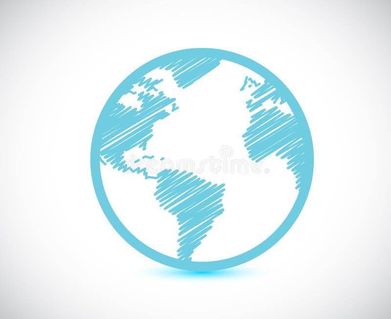 Progettazione dell'illustrazione della mappa di mondo del globo illustrazione di stock