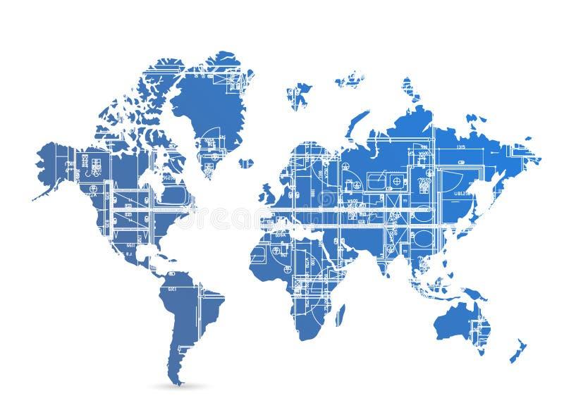 Progettazione dell'illustrazione della mappa di mondo del modello royalty illustrazione gratis