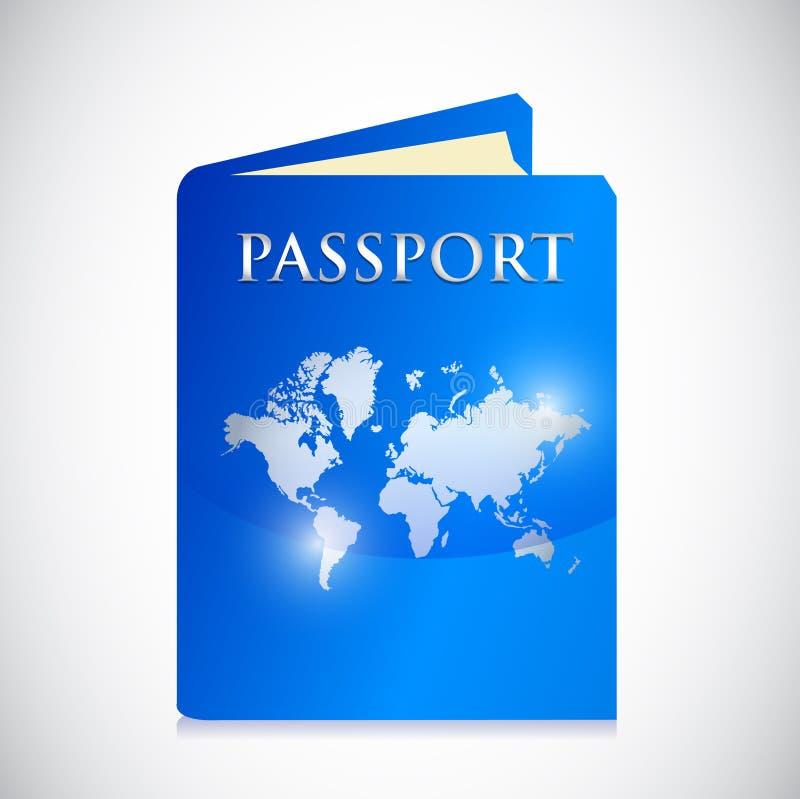 Progettazione dell'illustrazione della mappa di mondo del passaporto royalty illustrazione gratis