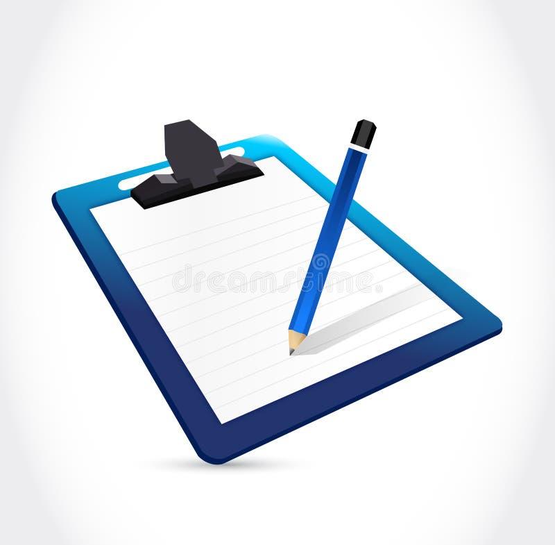 Progettazione dell'illustrazione della matita e della lavagna per appunti illustrazione di stock