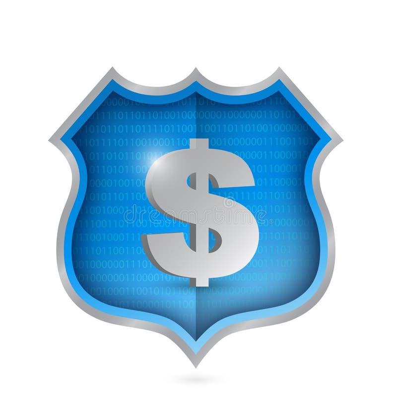 Progettazione dell'illustrazione dello schermo di sicurezza del dollaro illustrazione di stock