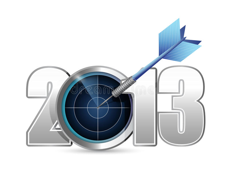 Progettazione dell'illustrazione di anno 2013 dell'obiettivo. illustrazione di stock