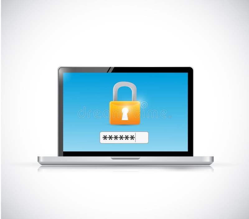 Progettazione dell'illustrazione di concetto di sicurezza di connessione del computer portatile illustrazione vettoriale