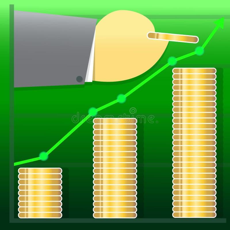 Progettazione dell'illustrazione di crescita dei grafici commerciali di vendita fotografia stock