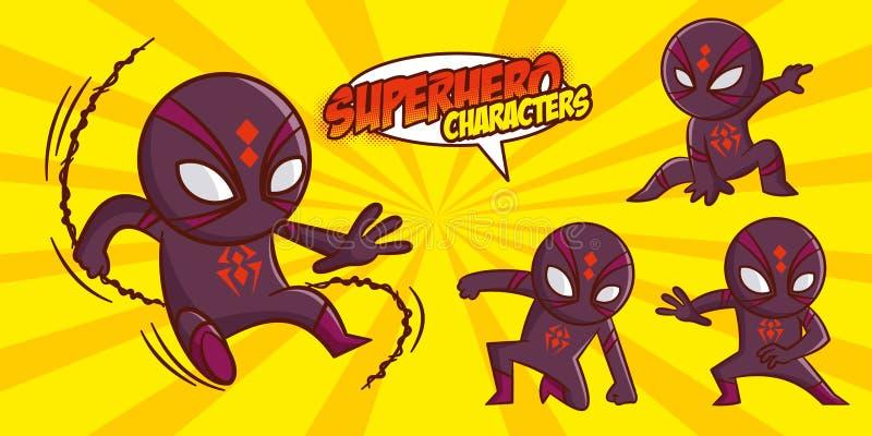 Progettazione dell'illustrazione di vettore fissata supereroi del carattere del supereroe illustrazione di stock