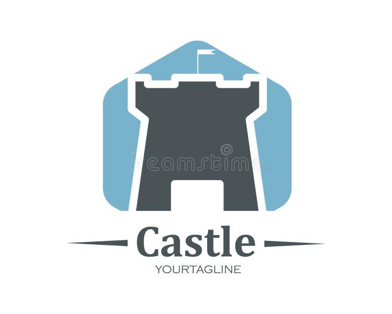 progettazione dell'illustrazione di vettore dell'icona di logo del castello illustrazione di stock