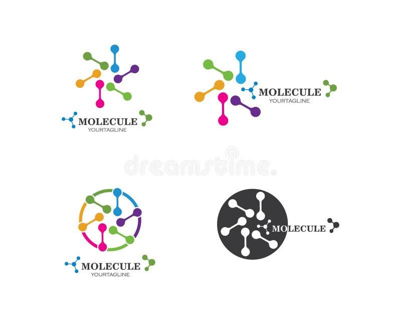 progettazione dell'illustrazione di vettore di logo della molecola illustrazione di stock
