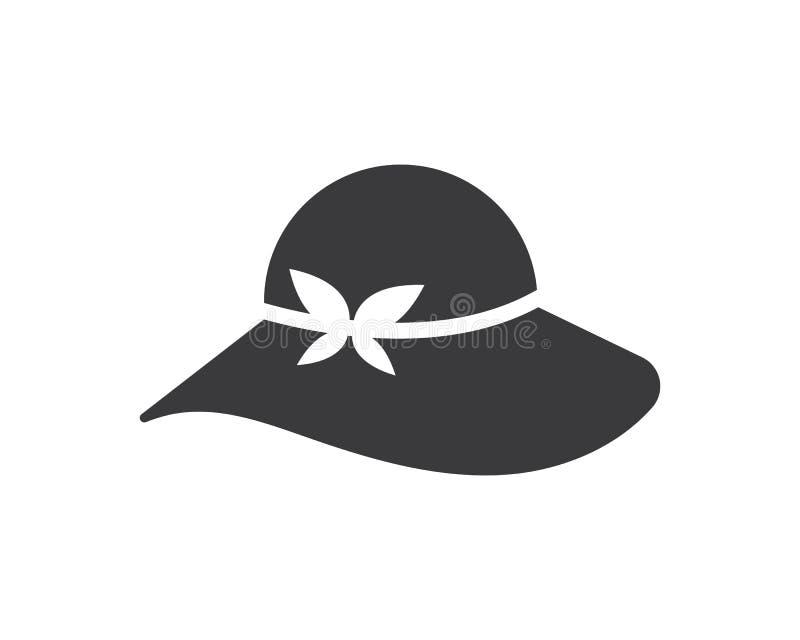progettazione dell'illustrazione di vettore di logo dell'icona del cappello della donna illustrazione vettoriale