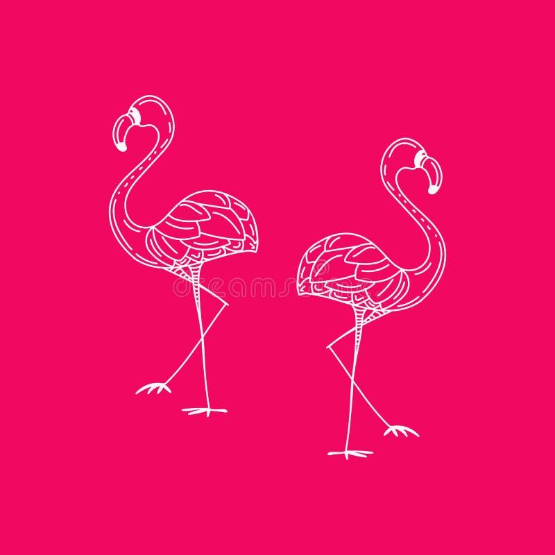 Progettazione dell'illustrazione dell'uccello del fenicottero su fondo illustrazione di stock