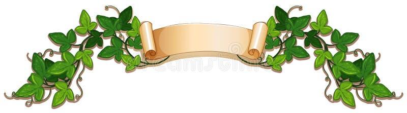 Progettazione dell'insegna con la vite verde dell'edera royalty illustrazione gratis