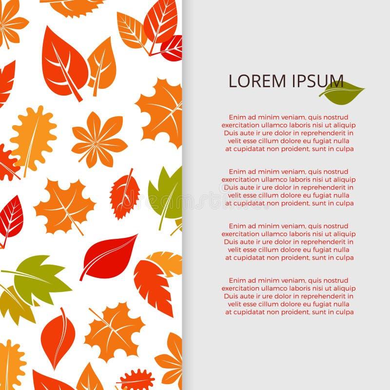 Progettazione dell'insegna delle foglie di autunno - manifesto variopinto del fogliame di caduta illustrazione di stock