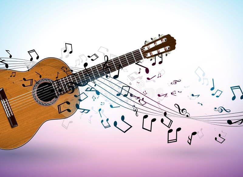 Progettazione dell'insegna di musica con la chitarra acustica e note di caduta su fondo pulito Modello dell'illustrazione di vett illustrazione di stock