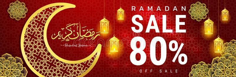 Progettazione dell'insegna di offerta di vendita di Ramadan Kareem con il fondo per il manifesto di promozione, sconto, fino a 80 illustrazione vettoriale