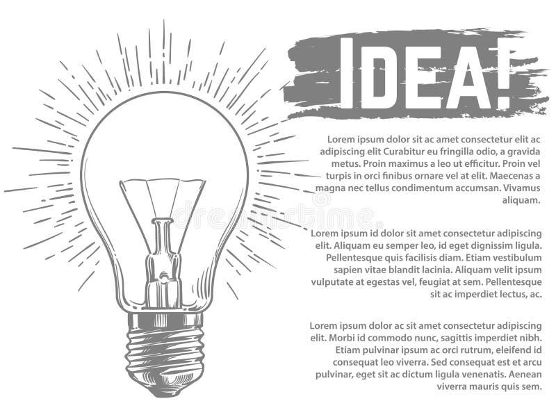 Progettazione dell'insegna di vettore di idea Illustrazione schizzata di vettore della lampadina illustrazione di stock