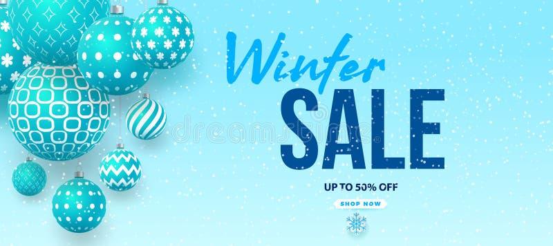 Progettazione dell'insegna di vettore di vendita di inverno con le ciotole blu con i modelli geometrici ed il testo di vendita di illustrazione di stock