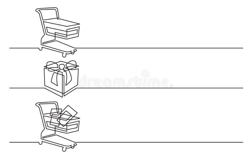 Progettazione dell'insegna - disegno a tratteggio continuo delle icone di affari: carrello, contenitore di regalo, merci royalty illustrazione gratis