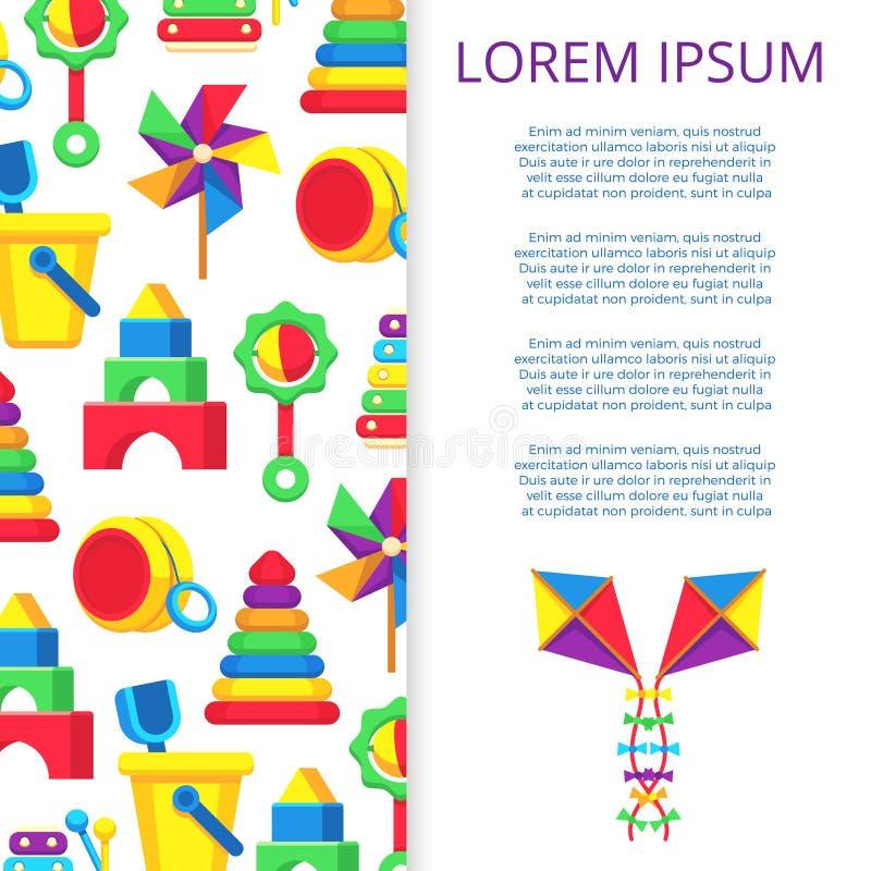 Progettazione dell'insegna o del manifesto dei giocattoli dei bambini royalty illustrazione gratis