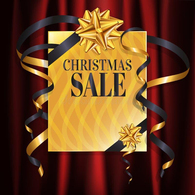 Progettazione dell'insegna dell'oro di vendita di lusso di Natale e del nuovo anno con il regalo, la scatola attuale sul fondo mo royalty illustrazione gratis
