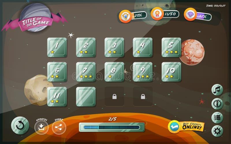 Progettazione dell'interfaccia utente del gioco di Scifi per la compressa illustrazione di stock