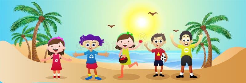 Progettazione dell'intestazione o dell'insegna del sito Web con i bambini felici divertendosi al Se illustrazione vettoriale
