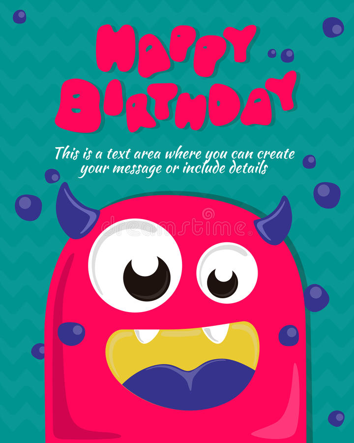 Progettazione dell'invito della carta del partito del mostro Modello di buon compleanno Illustrazione di vettore fotografia stock