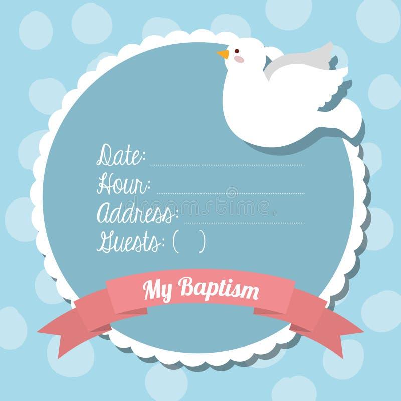 Progettazione dell'invito di battesimo illustrazione di stock