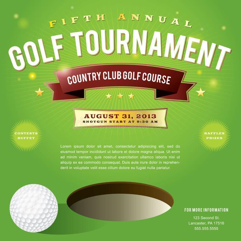 Progettazione dell'invito di torneo di golf illustrazione di stock