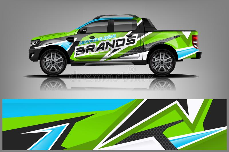 Progettazione dell'involucro del camion Involucro, progettazione della decalcomania per la società Formato di vettore - vettore illustrazione vettoriale