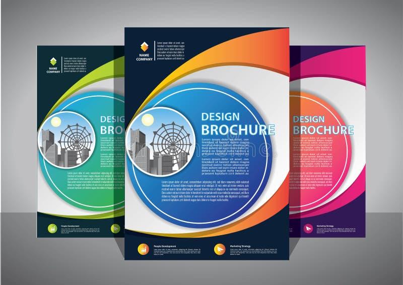 Progettazione dell'opuscolo, disposizione moderna della copertura, rapporto annuale, manifesto, aletta di filatoio in A4 con il t fotografia stock