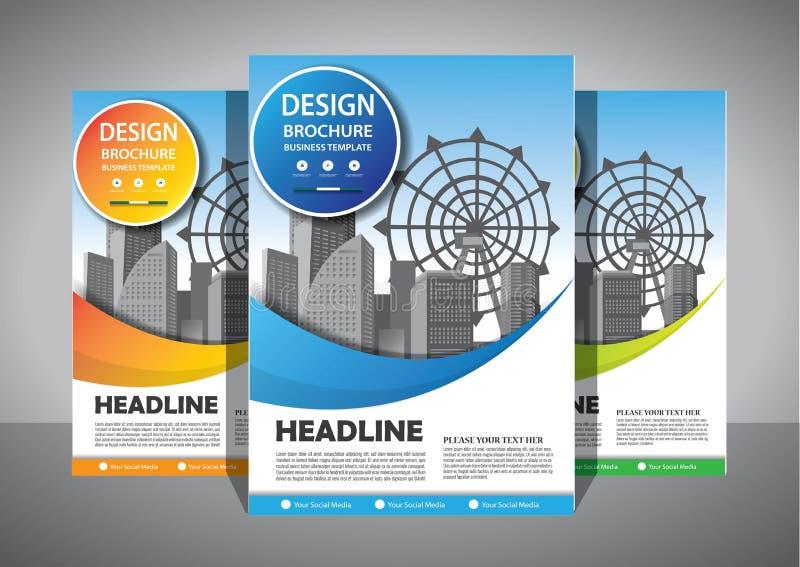 Progettazione dell'opuscolo, disposizione moderna della copertura, rapporto annuale, manifesto, aletta di filatoio in A4 con il t fotografie stock