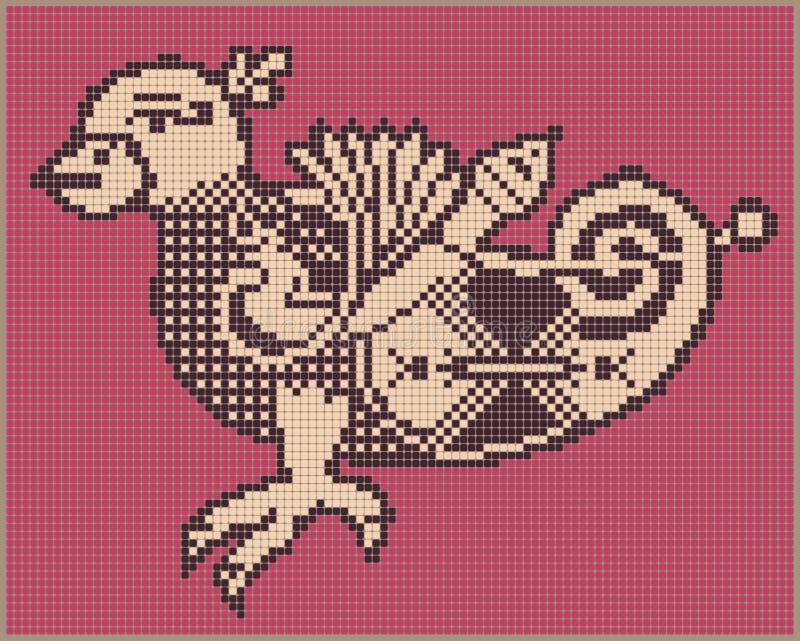 Progettazione dell'uccello del pixel nello stile piega per il punto trasversale royalty illustrazione gratis
