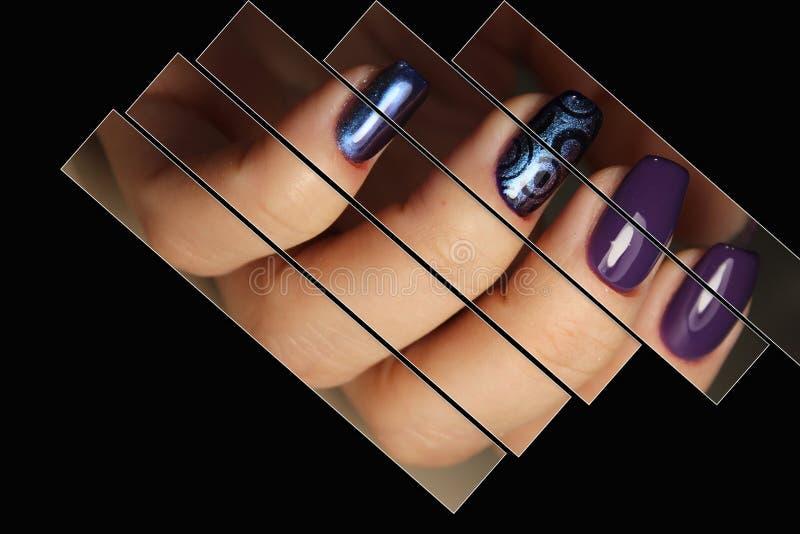 Progettazione dell'unghia del manicure del collage immagini stock libere da diritti