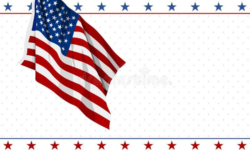 Progettazione della bandiera americana su fondo bianco quarto dell'illustrazione di vettore dell'insegna di festa dell'indipenden illustrazione di stock